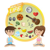 Boy and girl meditating with healthy lifestyle concept Stock Photography