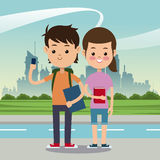 Boy girl mobile books bag back school urban background. Vector illustration eps 10 Royalty Free Stock Images