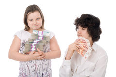 Boy and girl with money Royalty Free Stock Image