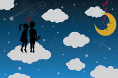 Boy and girl on moonlight. With clouds Royalty Free Stock Photography