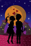 Boy and girl on moonlight. Illustration of boy and girl on moonlight Stock Photography