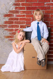 Boy and girl. Moving Stock Photography