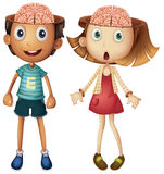 Boy and girl with naked brains Stock Photos
