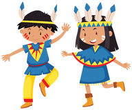 Boy and girl in native american indians Royalty Free Stock Photo
