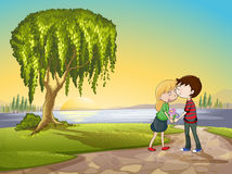 A boy and a girl in nature Stock Photos