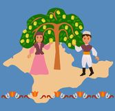 Boy and a girl near an apple tree against a silhouette of the Cr. Boy and girl in the Tatar national costumes near a local apple varieties in the background stock illustration