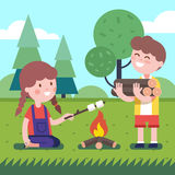 Boy and girl near the bonfire Royalty Free Stock Images