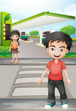 A boy and a girl near the gasoline station Stock Photography