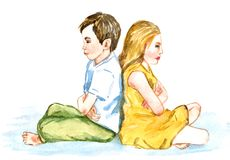 Boy and girl offended sit back to back, misunderstanding. Boy and girl unhappy sit back to back, isolated hand painted watercolor illustration Royalty Free Stock Photography
