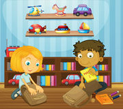Boy and girl packing schoolbags Royalty Free Stock Photos