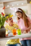 Boy and girl painting eggs for Easter Royalty Free Stock Photo