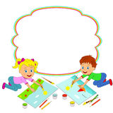 Boy and girl painting and frame Royalty Free Stock Image