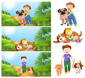 Boy and girl with pet dogs Royalty Free Stock Image