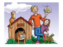 Boy and girl and pets. Cartoon illustration of a boy and girl and pets Royalty Free Stock Photos