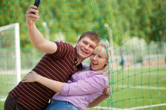 Boy and girl photographed themselves Royalty Free Stock Photography