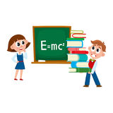 Boy and girl at physics lesson, in school. School girl answering at physics lesson, boy carrying pile of books, cartoon vector illustration isolated on white Royalty Free Stock Photography