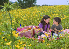 Boy girl picnic. Little boy and girl having a picnic in a yellow flowers field Stock Photography