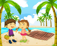 Boy and girl picnic on the beach. Illustration vector illustration