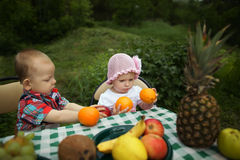 Boy and girl on picnic in park Stock Images