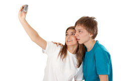 Boy and girl pictures of himself Stock Image