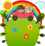 Boy and girl in a pink car under the rainbow Royalty Free Stock Images
