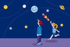 Boy and Girl and Planets vector illustration