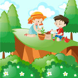 Boy and girl planting in the forest. Illustration stock illustration