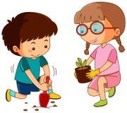 Boy and girl planting in garden. Illustration royalty free illustration