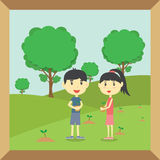 Boy and Girl planting small trees. In garden stock illustration