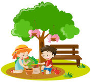 Boy and girl planting tree in garden. Illustration Stock Photo