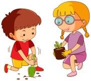 Boy and girl planting tree. Illustration royalty free illustration