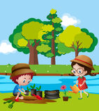 Boy and girl planting trees by river. Illustration stock illustration