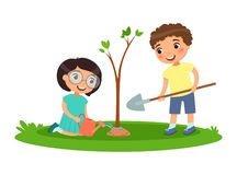 Boy and girl for planting and watering trees. Vector illustration for Arbor Day or Mother Earth Day. Boy and girl for planting and watering trees stock illustration