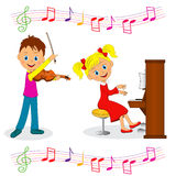 Boy and girl play music Royalty Free Stock Image