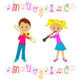 Boy and girl  play musical instruments Royalty Free Stock Images