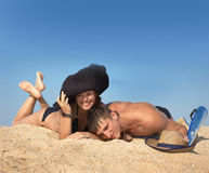 Boy and girl play sand Stock Photography