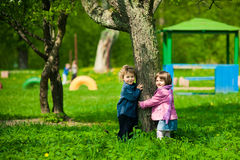 Boy and girl on a playground Royalty Free Stock Photos
