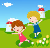 Boy and girl playing Royalty Free Stock Photography