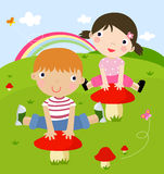 Boy and girl playing. Illustration art vector illustration