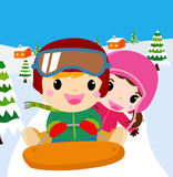 Boy and girl playing vector illustration