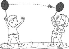 Boy and Girl Playing Badminton Stock Image