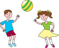 Boy and girl playing ball. A cartoon boy and girl playing with a beach ball Royalty Free Stock Photos