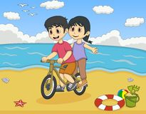 Boy and girl playing bicycle on the beach cartoon Stock Images