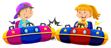 Boy and girl playing bump cars. Illustration Royalty Free Stock Photos
