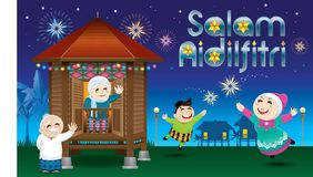 A boy and a girl is playing with fireworks during their Raya festival celebration. With village scene. Vector for Hari Raya Puasa or Aidilfitri. The words ` Stock Image