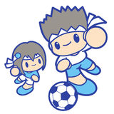 Boy and girl is playing Football. Education and life Character D Royalty Free Stock Photos
