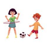 Boy and girl playing football and spinning hula hoop at playground Stock Image