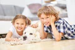 Boy and girl playing with Golden Retriever. Dog at home royalty free stock image