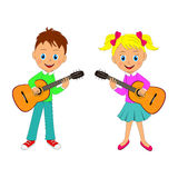 Boy and girl playing the guitar Royalty Free Stock Photography
