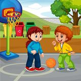 Boy and girl playing. Illustration stock illustration